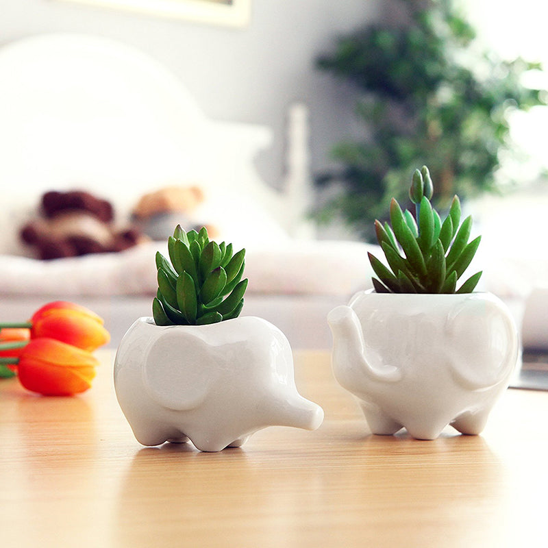 Adorable Set Of 2 Ceramic Elephant Planters Free Shipping Www