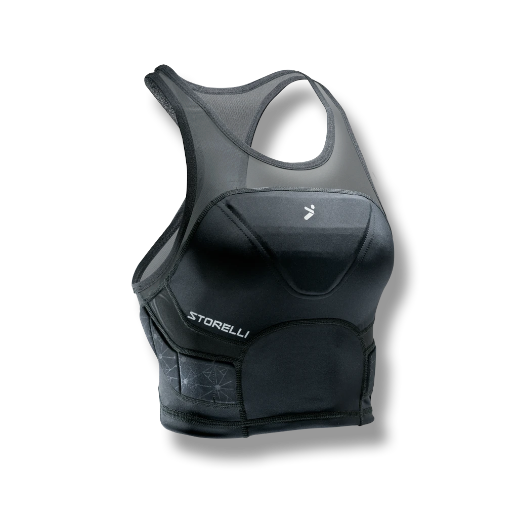Padded crop top as chest protection for women's soccer.