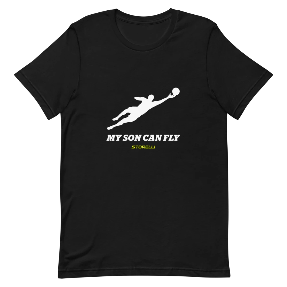 """""""My Son Can Fly"""" lifestyle soccer t-shirt."""