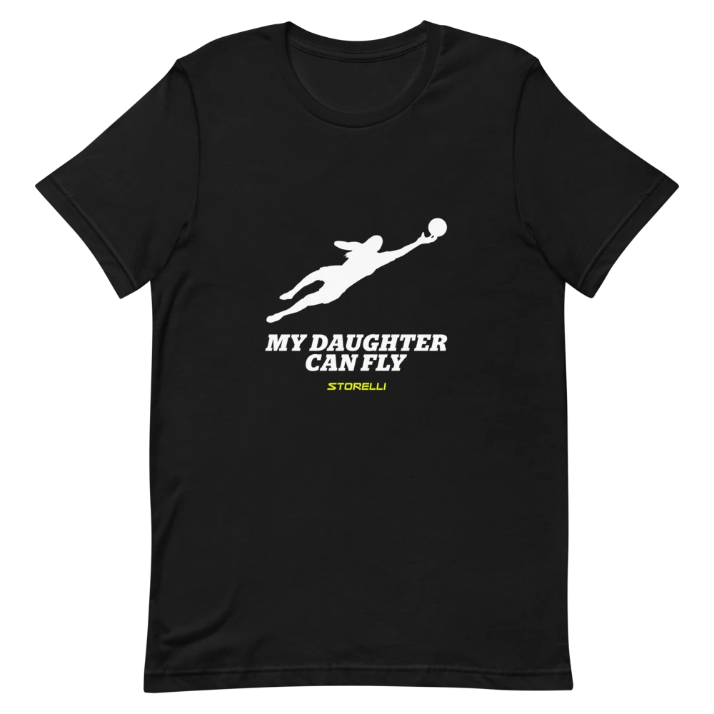 """""""My Daughter Can Fly"""" lifestyle soccer t-shirt."""