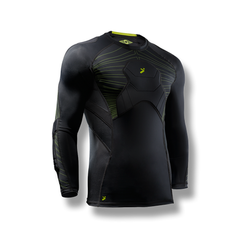 Soccer-goalkeeper compression style shirt with padded/protection on elbows, chest, shoulders and ribs. 3/4 length black strike color