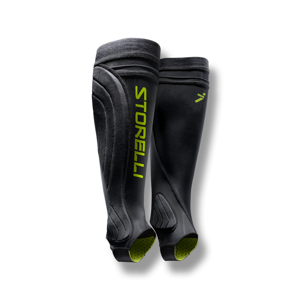 soccer ankle compression leg protection sleeve shin guard pocket black