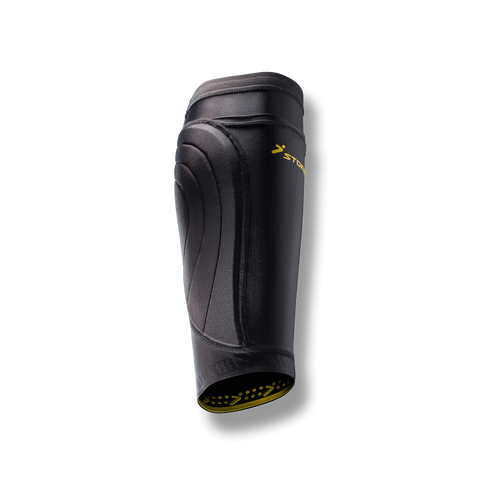 soccer compression leg protection sleeve shin guard pocket black