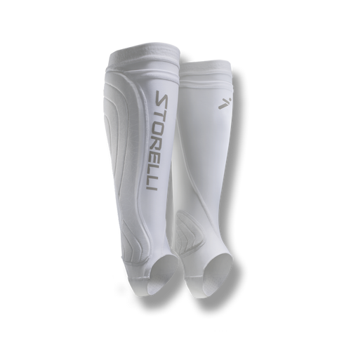 soccer ankle compression leg protection sleeve shin guard pocket white