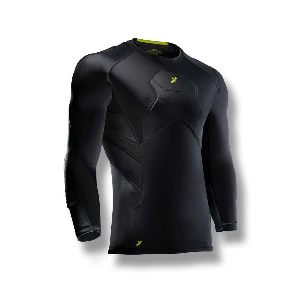 Soccer-goalkeeper compression style shirt with padded/protection on elbows, chest, shoulders and ribs. 3/4 length black color