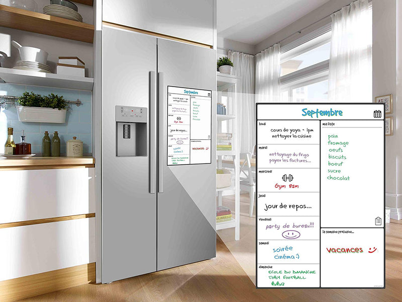 Magnetic Fridge Whiteboard, Weekly - in French