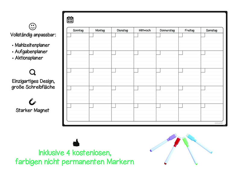 Magnetic Fridge Whiteboard, Monthly - in German