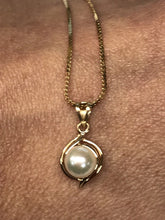 14K Yellow Gold Necklace with Pearl Pendant