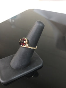 10K Yellow Gold Garnett & Cubic Zirconia Ring