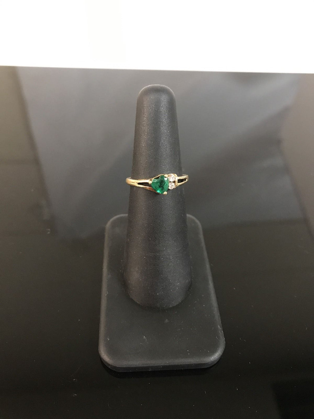 10k Yellow Gold Ring with Simulated Emerald Heart & Cubic Zirconia Accents