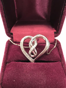 925 Sterling Silver Heart Pendant with Diamond Accents & Chain