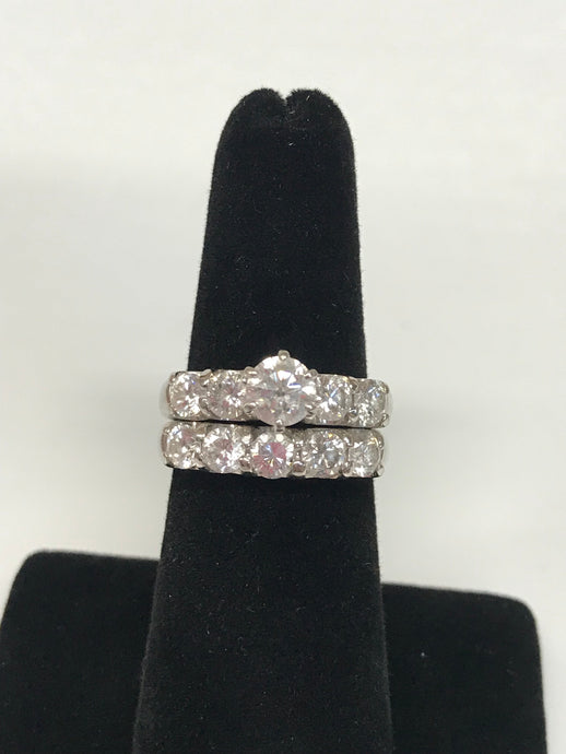 14K White Gold Diamond Wedding Set