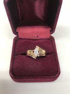 14K Marquise Cut Diamond Engagement Ring