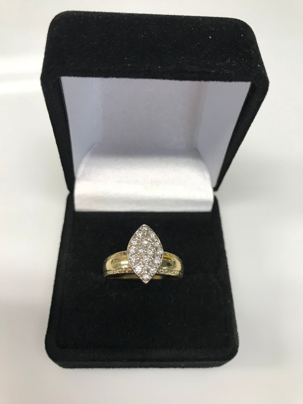 10K Yellow Gold Marquis Shape Setting Diamond Cluster Ring