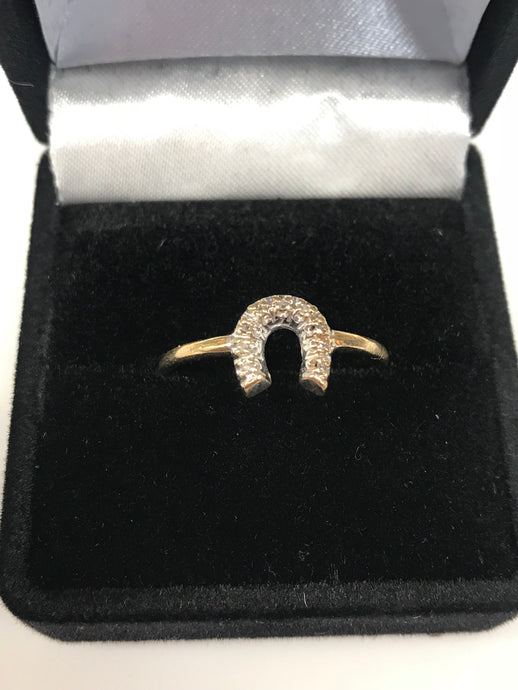 Women's 10K Yellow Gold Diamond Accent Horseshoe Ring