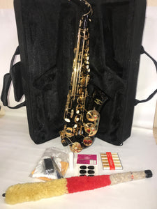 Glory Gold & Black Saxophone with Case & Extra's