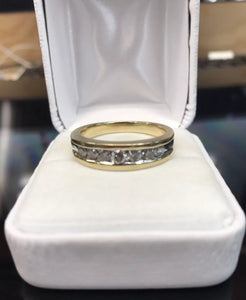 Men's 10K Yellow Gold Channel Set Diamond Wedding Band