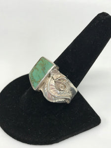 Handcrafted 925 Sterling Silver Heavy Turquoise Ring