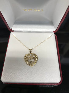 10K Yellow Gold Heart Mom Pendant with Chain