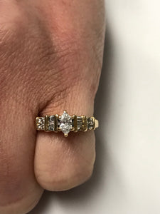 14K Marquis Cut Diamond Solitaire Engagement Ring