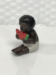 Vintage Black Americana Boy Eating Watermelon Figurine