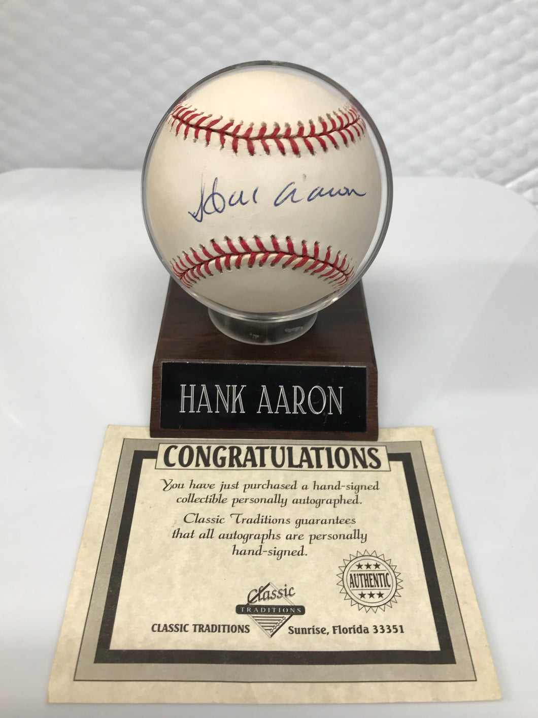 Hank Aaron Signed Ball