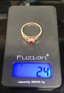 10K Yellow Gold Simulated Ruby Heart Ring with Diamond Accents