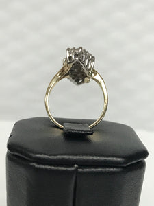 14K Yellow Gold Large Diamond Cluster Ring