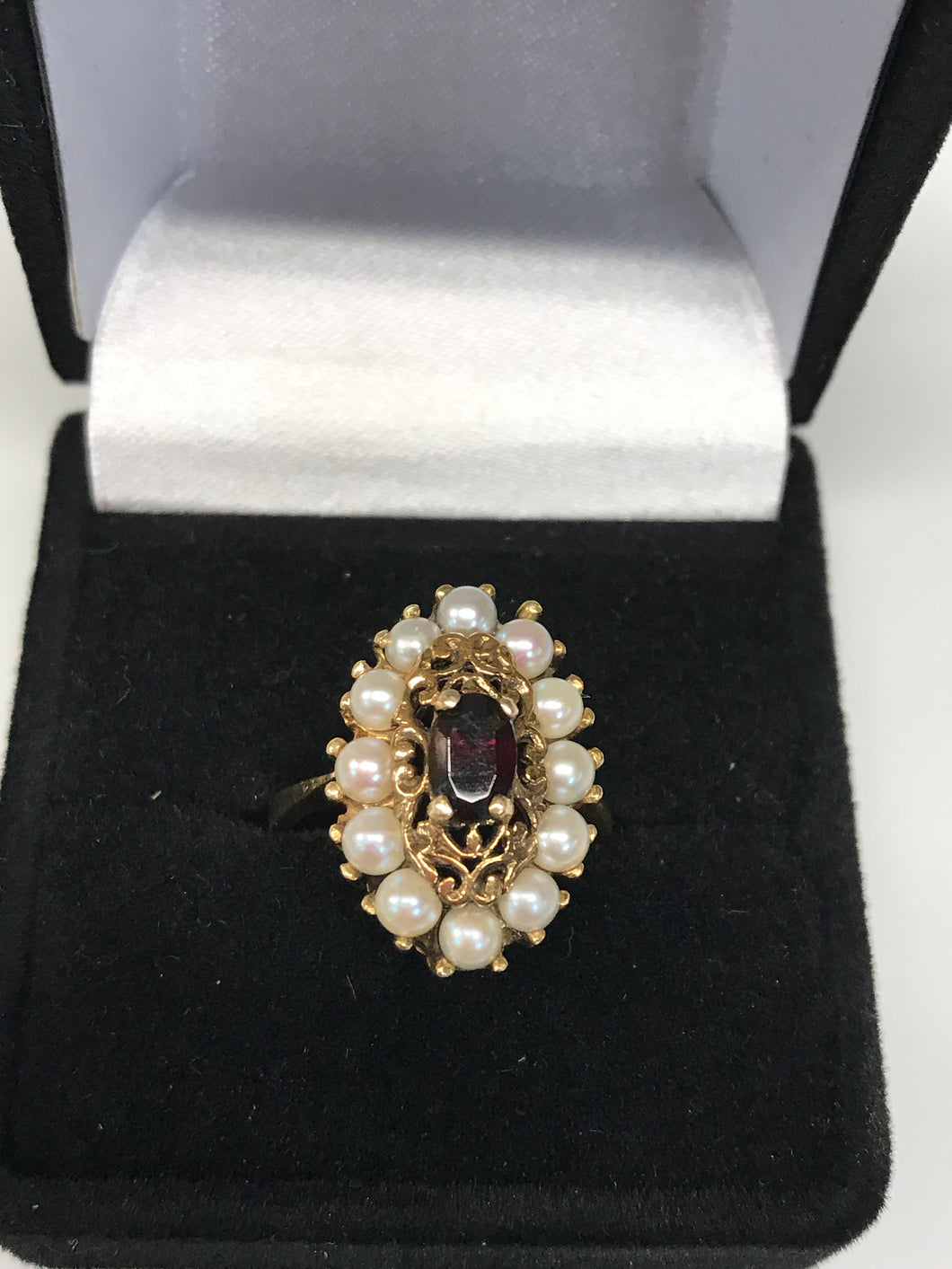 14K Yellow Gold Pearl &Garnet Ring