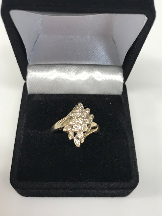 Women's 10K Yellow Gold Diamond Cluster Ring