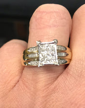 10K Yellow Gold Princess Cut Diamond Cluster Engagement Ring