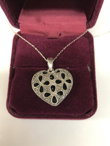 925 Sterling Heart Shaped Pendant with Diamond Accents 22'' Chain