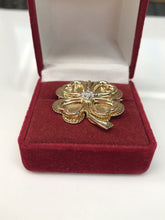 Vintage Diamond and 14K Yellow Gold Four Leaf Heart Brooch