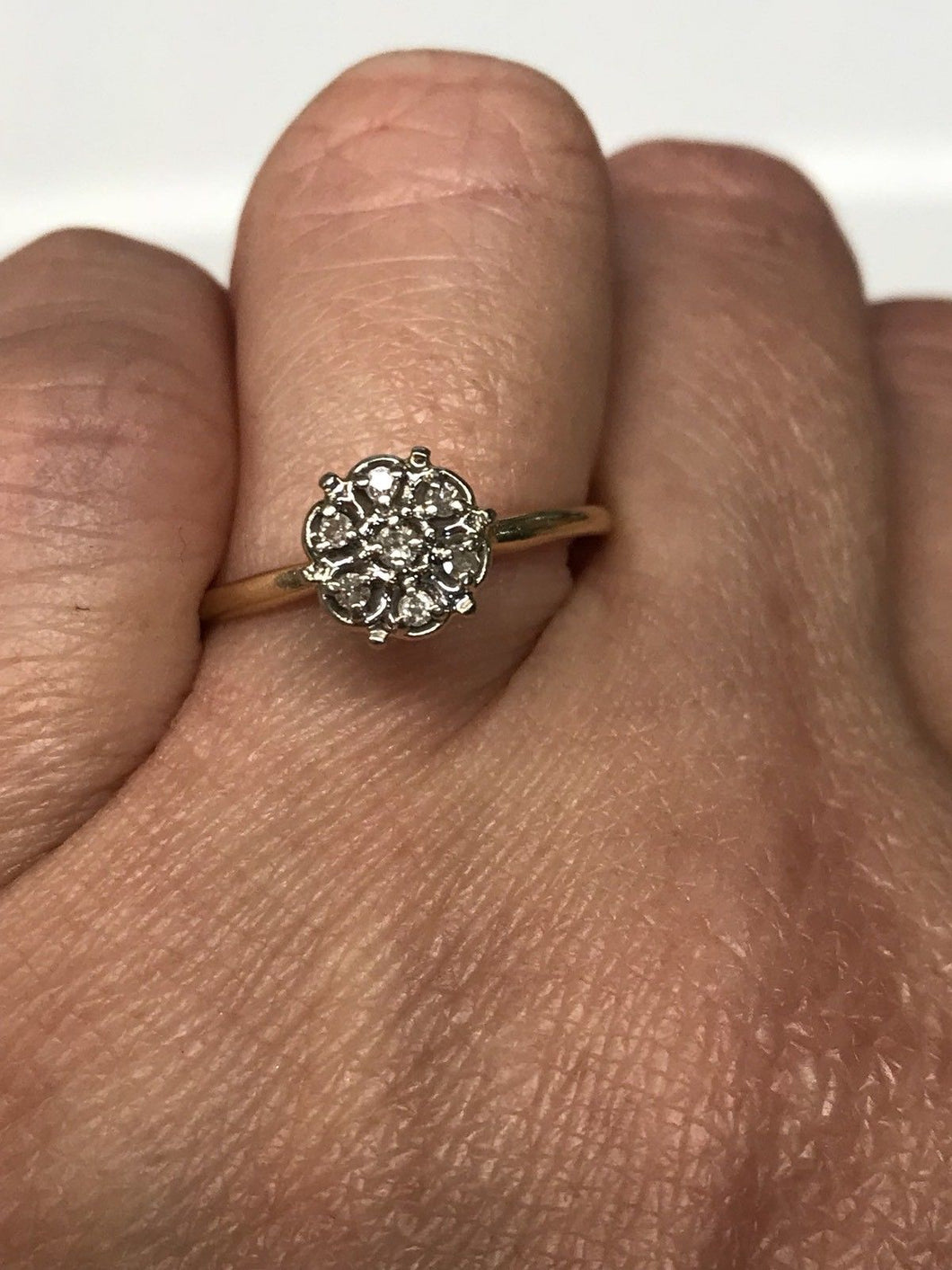 14K Yellow Gold Diamond Cluster Engagement Ring