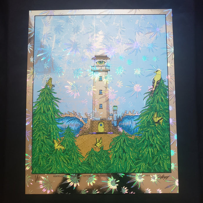 North East Leaf Lighthouse Art Print- Cannafoil
