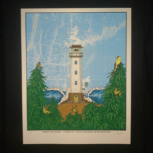 North East Leaf Lighthouse Art Print- Metallic White Gold