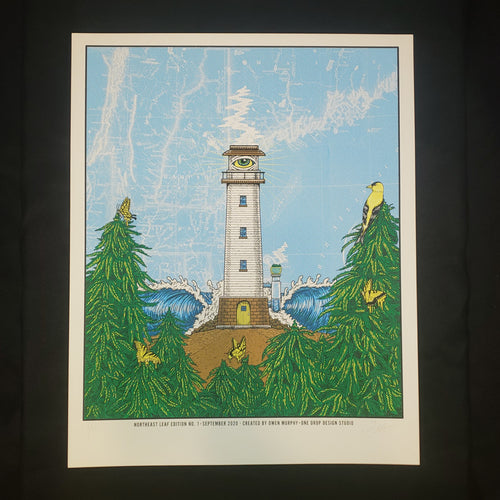 North East Leaf Lighthouse Art Print - White Wash