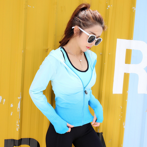 Women's Gradient Color Jacket Zipper Hoodies Running Fitness  Yoga High Stretch Elastic