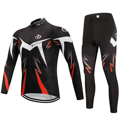 Winter cycling long fleece riding suit