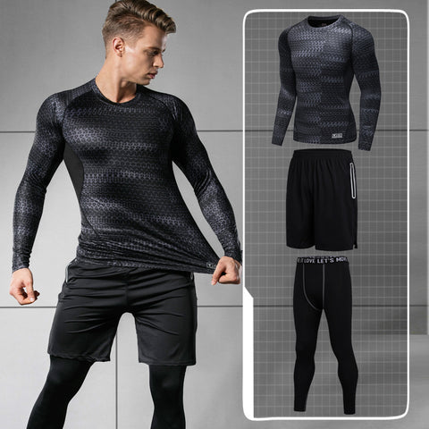 The new winter and winter sports suits, men's three sets of gym equipment, tight pants, fast dry basket jerseys, running training clothes