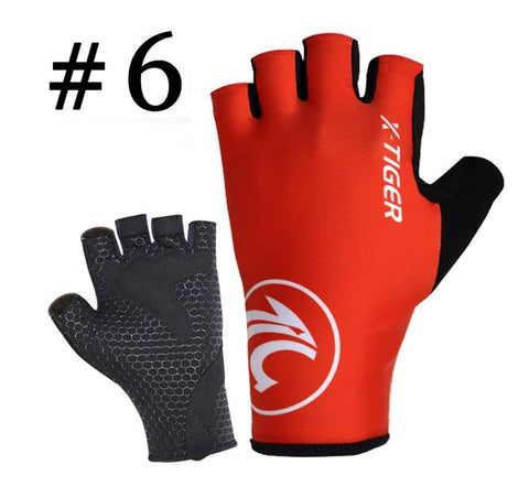 X-Tiger Anti-sweat Cycling Finger Gloves Sports Bicycle Gloves Anti-slip Anti-shock Bicycle MTB Glove 6 Colors