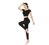 Crop top short sleeve and high waist legging yoga suit