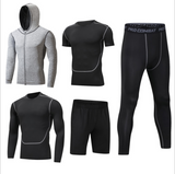 Men 5 pieces quick drying spandex polyester sportswear tracksuit