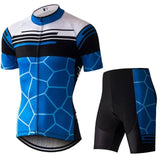 Blue Cycling Jersey Short Set