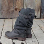 Vintage Style Winter Women Warm Plush Fur Knitted Woolen Strapped Bottine Cotton Martin Boot