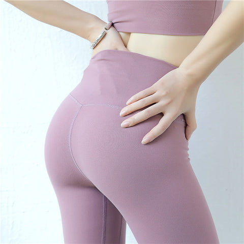 Fitness yoga pants high waist peach tight with pocket