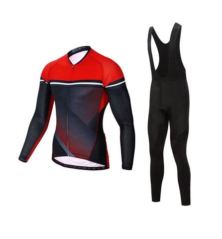 Red Long Sleeve Bicycle Jersey and Pant Set