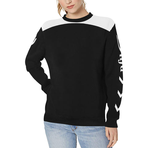 Sweet Black Sweatshirt - Women's Rib Cuff Crew Neck Sweatshirt