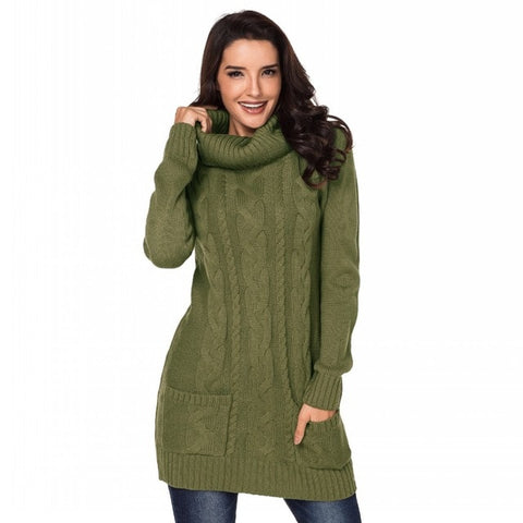Women Winter Turtleneck Sweater Robe Knitting with Pocket
