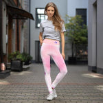 Dilfa Pink Flowers High-Waist Yoga Leggings